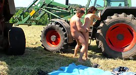 Tractor driver copulates sex-hungry..