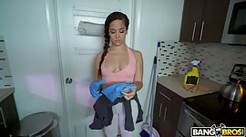 Spicy cleaning girlie Annika Eve gets..