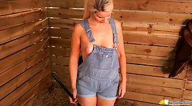 Country chick in overalls Sky denotes..