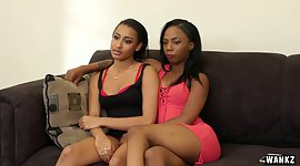 Ebony lesbo darlings get high on..