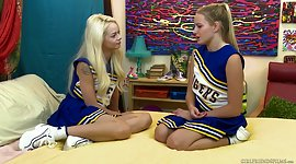 Two lovely cheerleaders has a fun..