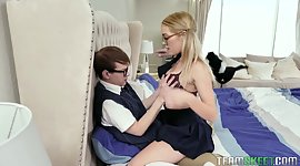 Blonde infantile in glasses Katie Kush..