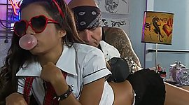 Little Lupe Fuentes in action. Facial..