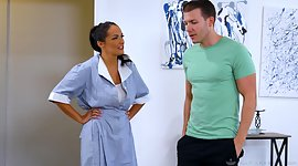 Sexy housekeeper Sofi Ryan gives a..