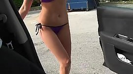 Busty Maiden pumping gas and mopping..
