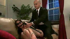 Lewd doctor makes out submissive tied..