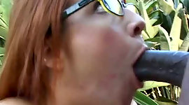 Breasty  hoe in glasses swallows BBC..